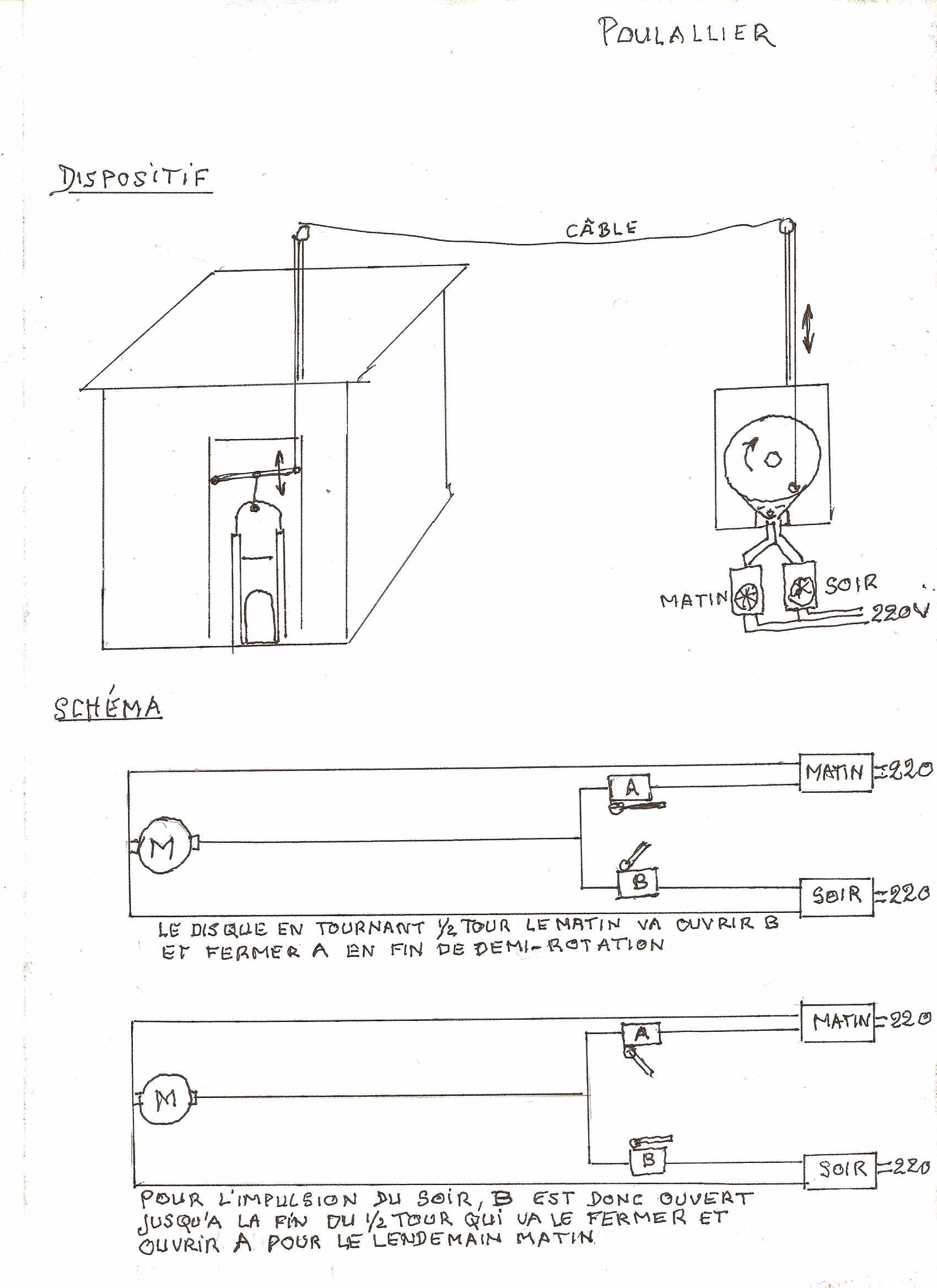 Croquis poulailler avec porte automatique mon poulailler - Fermeture automatique porte poulailler ...